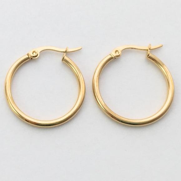 b1fe5e206f029 Medium gold hoop hoops earrings 20mm wide